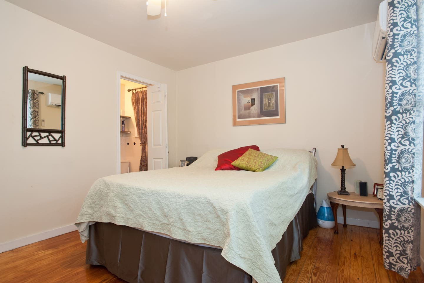 Queen Bed with an amazing in Suite Bathroom / Shower.  Everyone loves the high pressure shower.