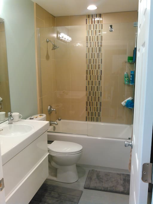 Clean brand new bathroom makes showering fun!