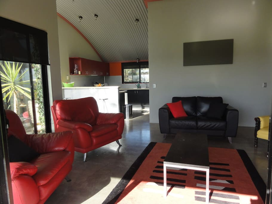 the lounge with view of the kitchen