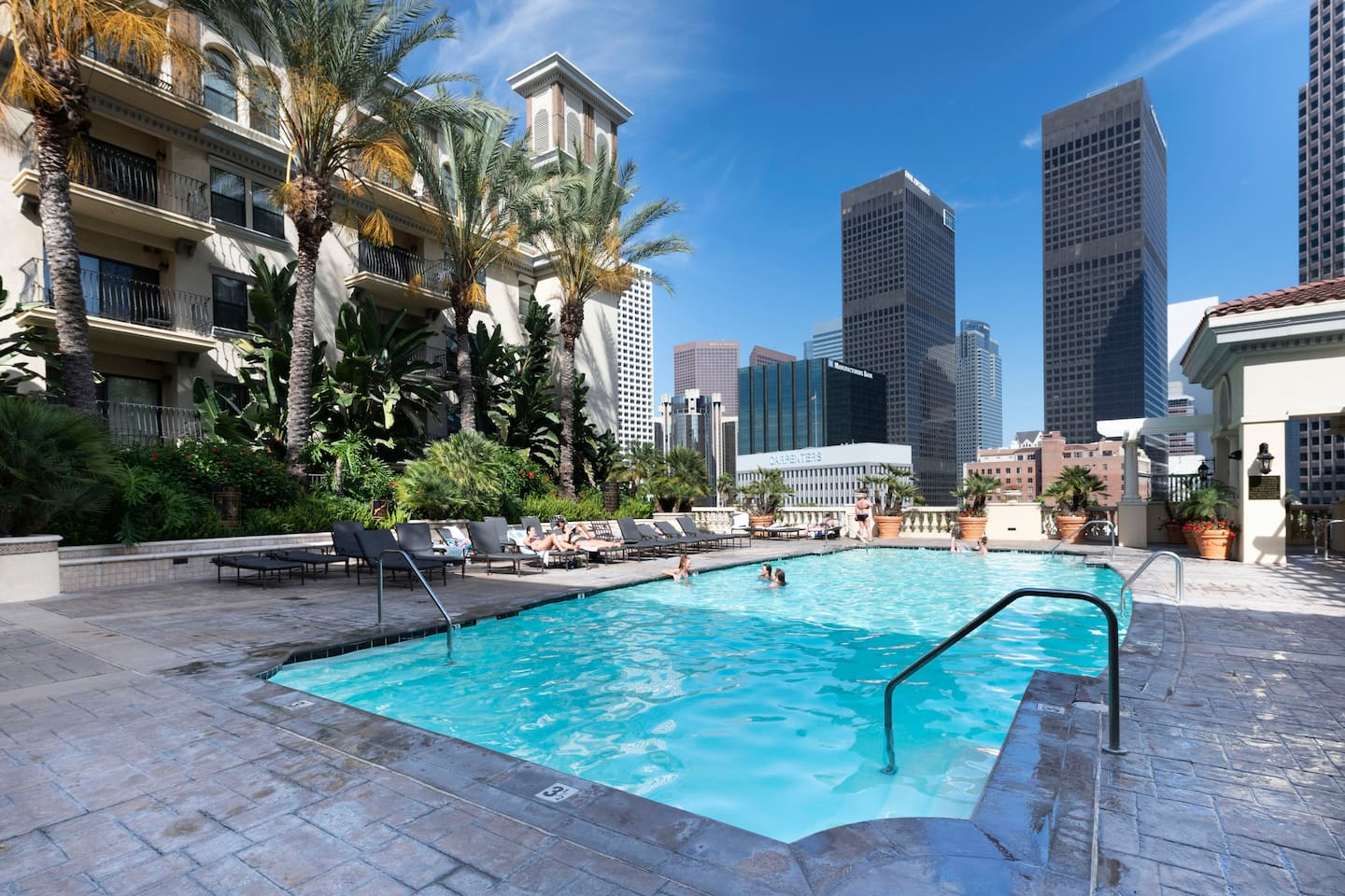 Heated saltwater pool with downtown views