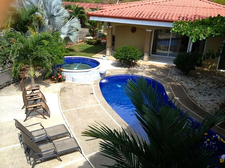 Outdoor lounging and pool area