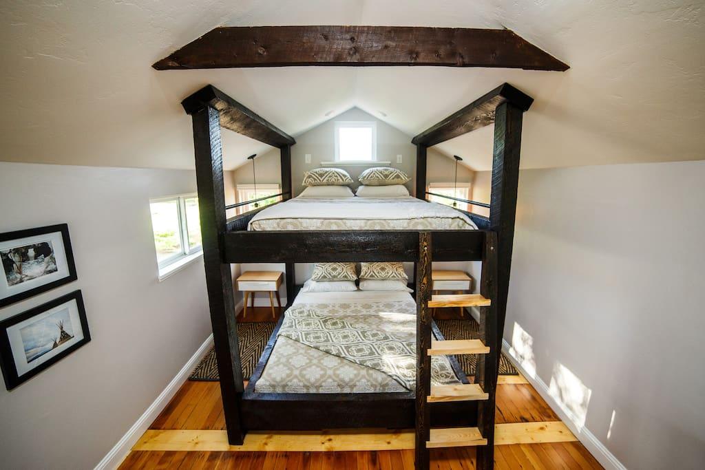 Custom queen-over-queen bunk bed