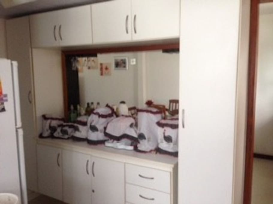 Cozinha equipada com armarios e eletrodomésticos