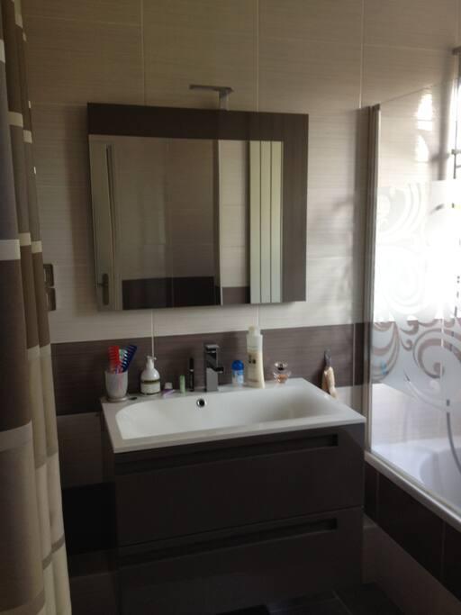 Salle de bain spacieuse, moderne et lumineuse