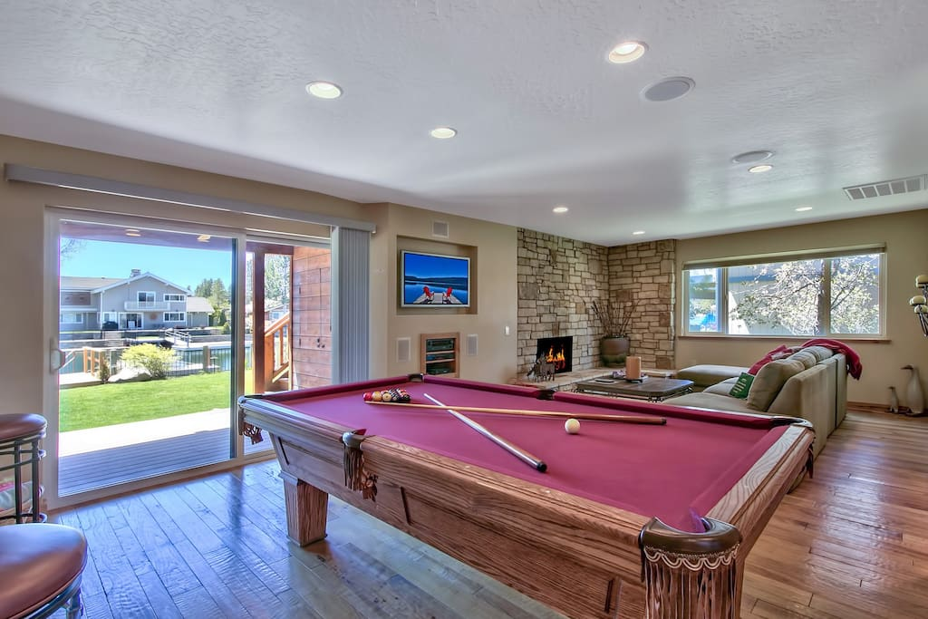 Play a round of pool at this regulation table in the downstairs living room