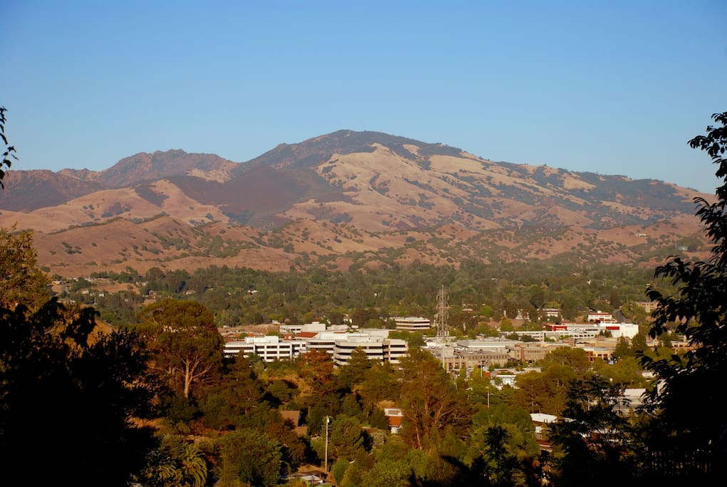 View from our balcony of Mt. Diablo and Walnut Creek.