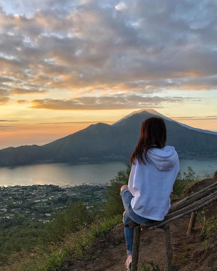 Sitting on active volcano to see sunrise