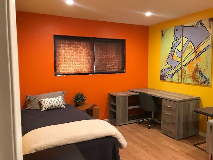 Vibrant but relaxing room close to La Jolla!