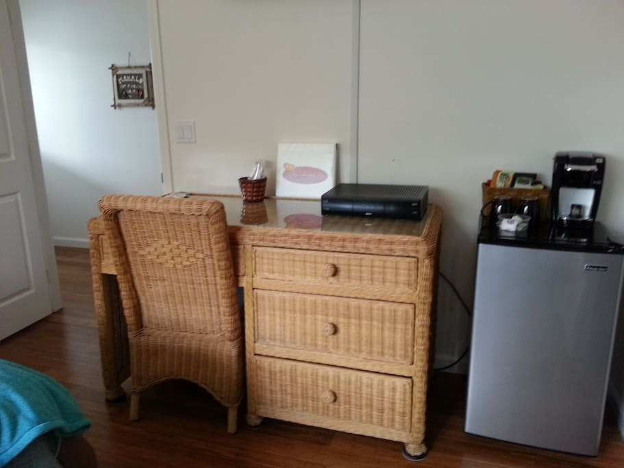 Dresser/desk with in room refrig/keurig coffee maker