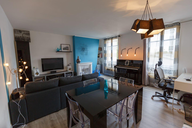 Global view of the living room Vue d'ensemble du Salon