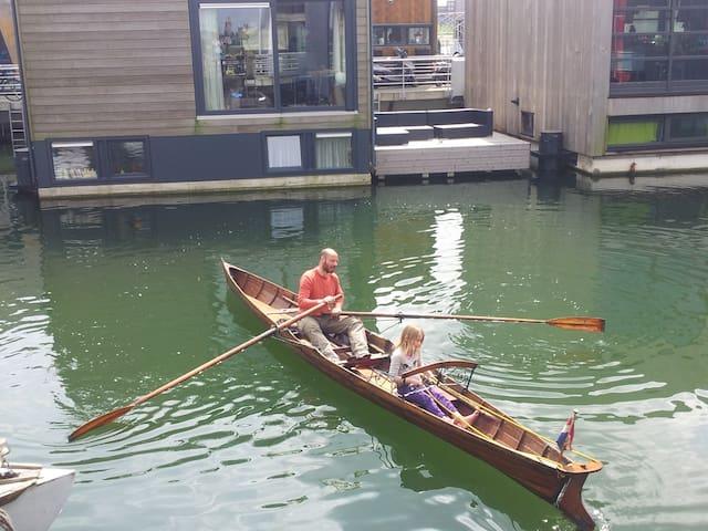 Enjoying the water around the houseboat
