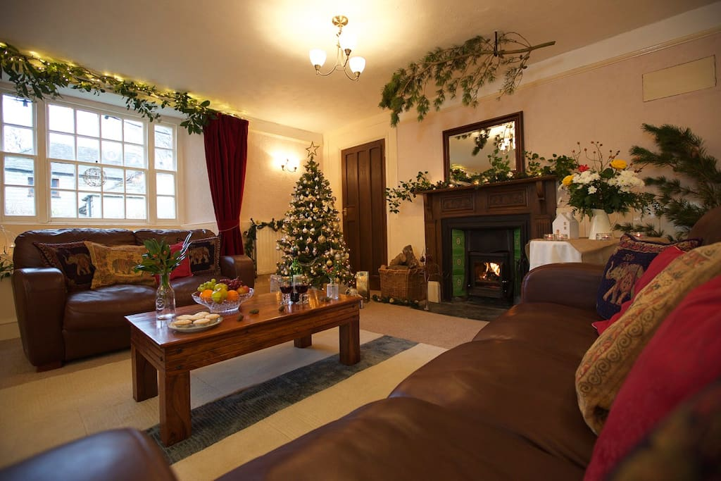 Spacious lounge with wood burner for those cosy nights in