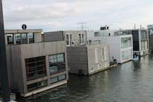 View of other houseboats from terrace