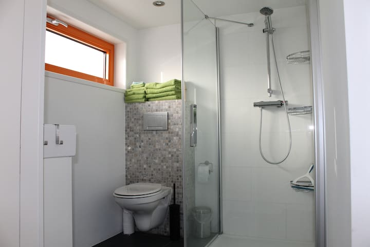Bathroom with shower with towels