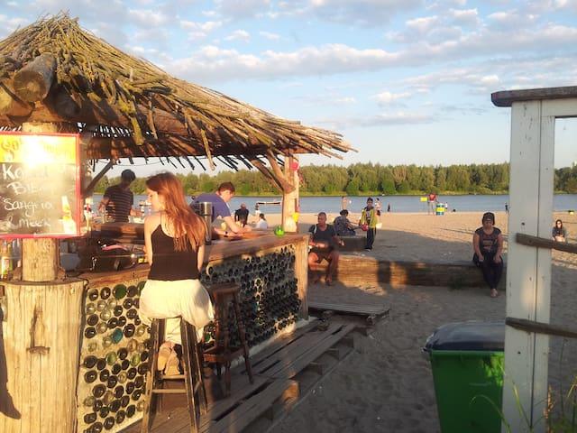 Blijburg beach and bar a short distance away.