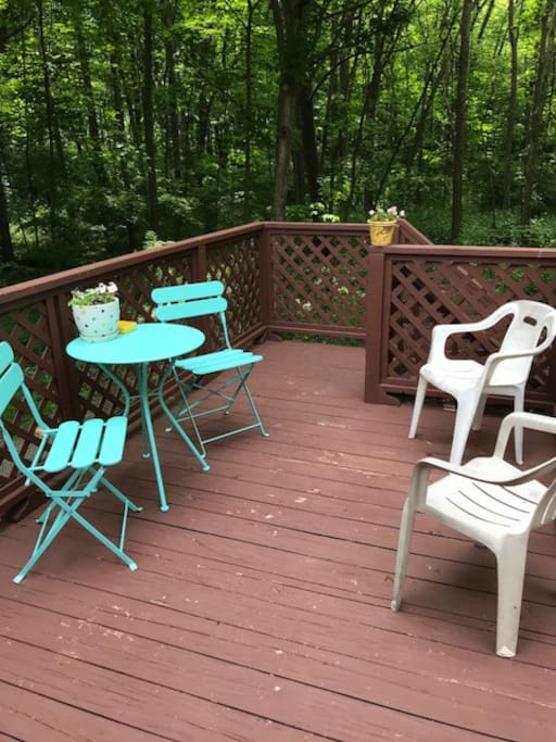 Private deck overlooking Jane Coates Woods