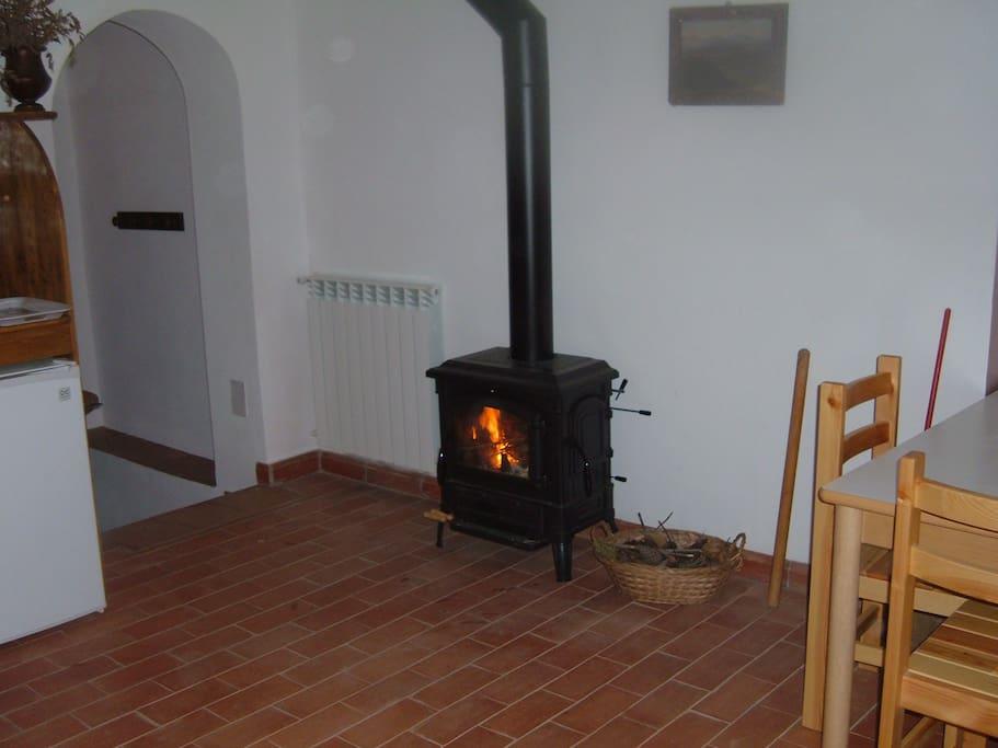 Soggiorno/cucina in inverno con stufa/camino a legna