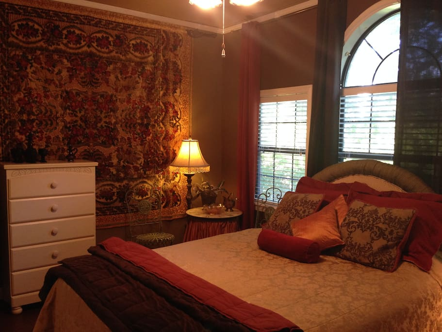 Tranquil upstairs bedroom with attached bathroom and new queen bed.