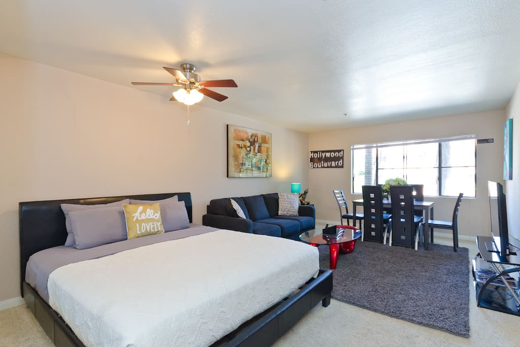 Enjoy yourself in my spacious and modern Hollywood apartment! Comfortable KING bed in the living room for ultimate relaxation.