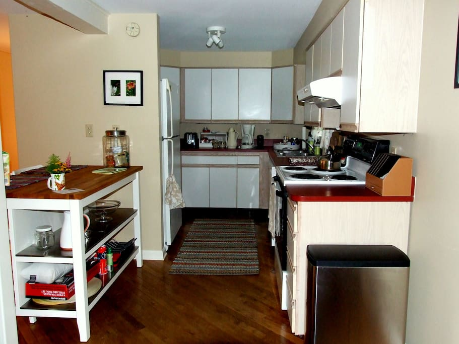 Fully stocked kitchen.  Includes breakfast foods and full coffee service.