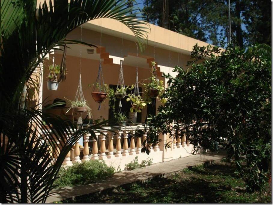La maison au milieu d'un jardin tropical...Grande terrasse pour le petit-dejeuner...