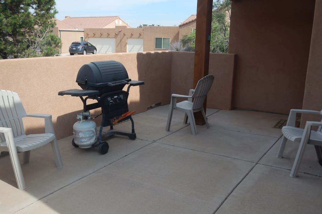 Private patio with gas grill