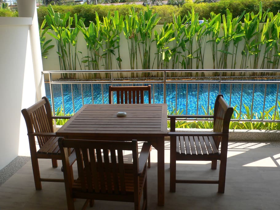 Balcony with direct pool access