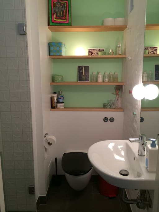 Small bathroom with shower.