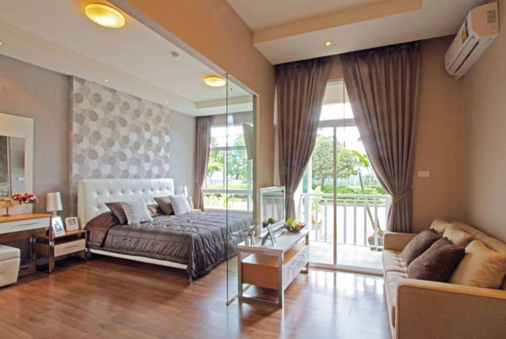 1 bedroom 42 sqm new condo, glass partition may change to wall with wallpaper when ready.