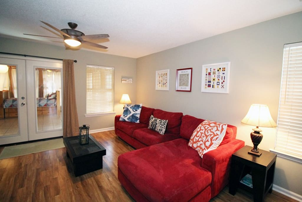 Comfortable Living Room with Flat Panel TV and DVD Player