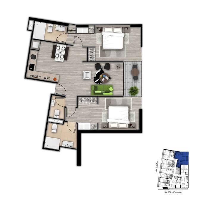 2 Dormitorios con W/Closet y baño privado, baño de visitas.
