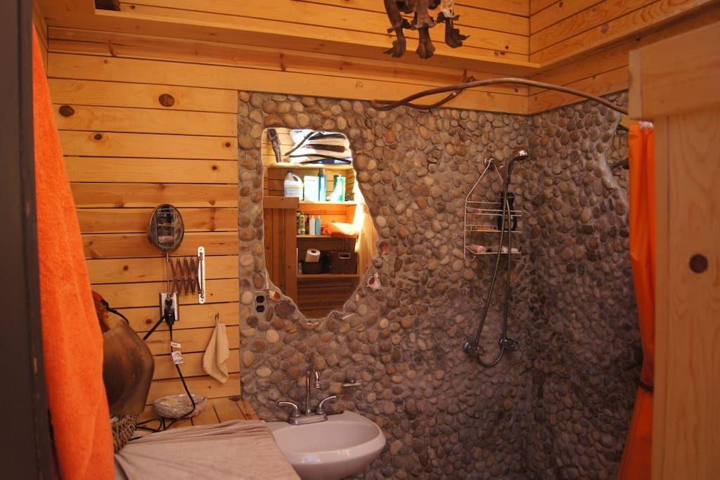 our infamous pebble bathroom