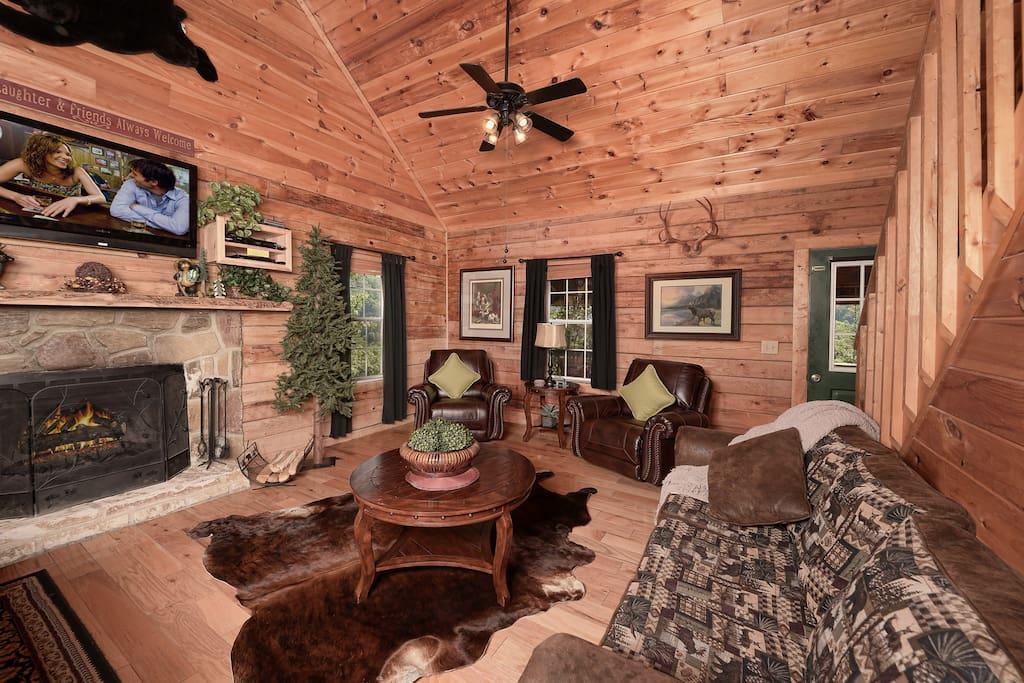 Living Rm - Wood Burning Fireplace-Queen Sleeper Sofa- Reclining Chairs - HDTV-DVD Player