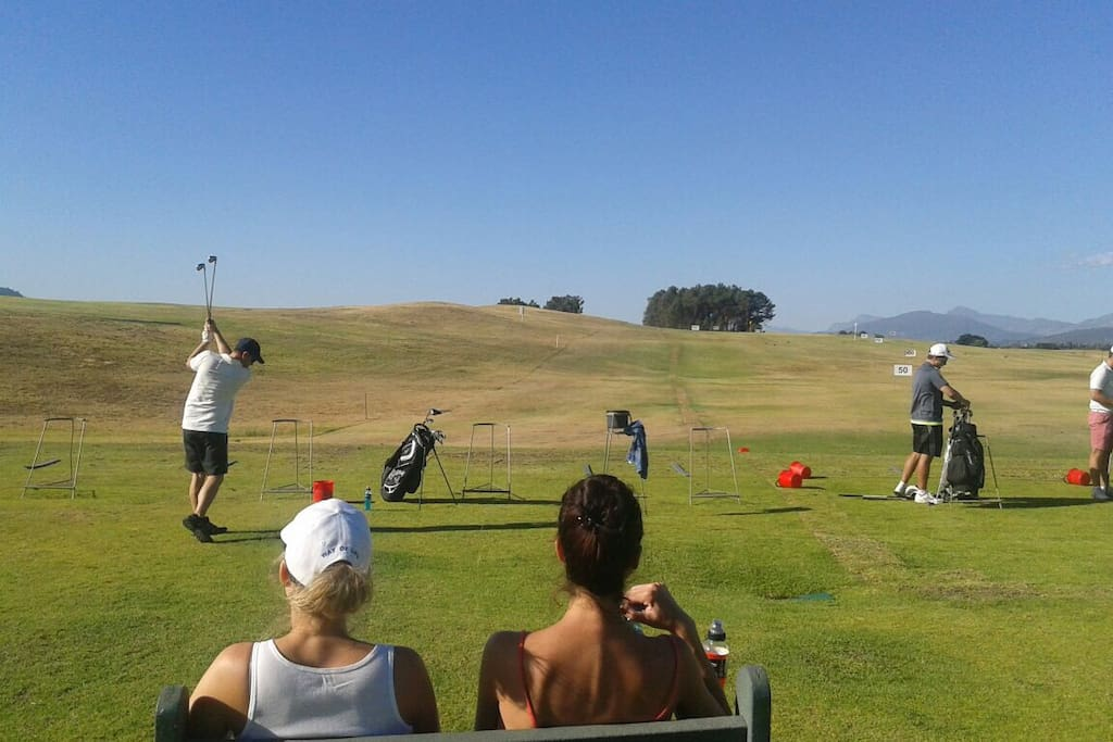 Golfing equipment for hire at the driving range