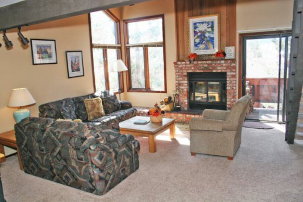 Mammoth Lakes Condo Rental Sunrise 15 - Living Room Fireplace - Firewood is not provided in unit 15 - guests will need to purchase their own firewood.