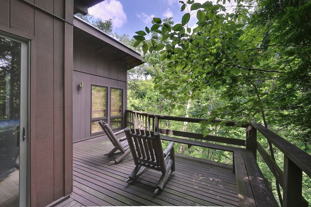 Enjoy views of the Rock Fork Creek from the Zen River Suite's Deck