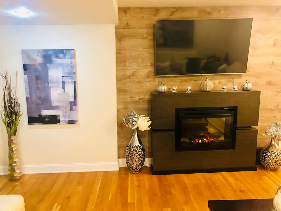 """Electric fireplace and 65"""" smart tv, fire stick and ummu app to watch hundreds of movies and TV shows."""