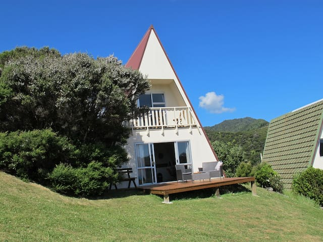 Whero - open plan studio, deck with superb views