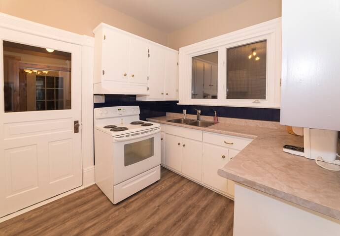 Kitchen includes microwave