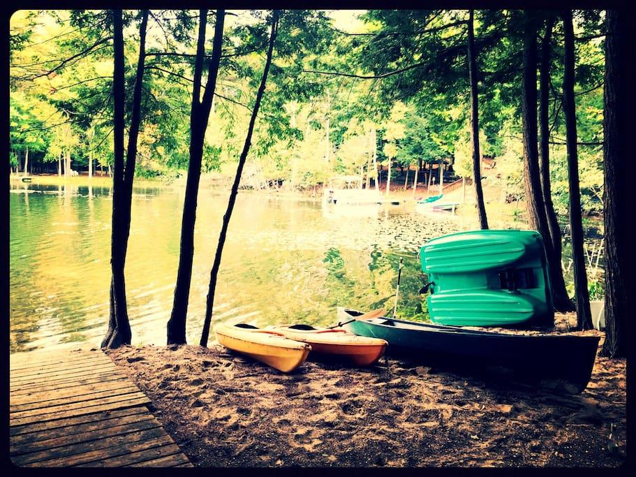 2 kayaks, 1 canoe, 1 paddle boat always available.