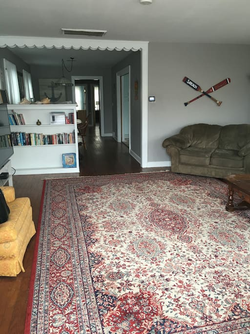 """Huge living room with 60"""" flat screen HDTV"""