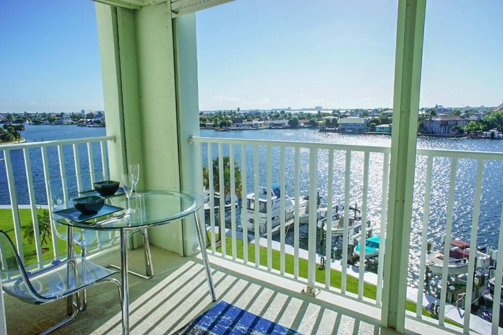 Oversized 17x6 balcony overlooking the intercoastal while you enjoy your breakfast.