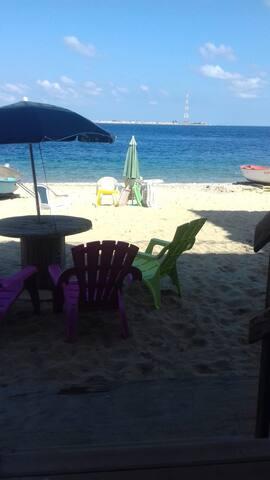 Vista spiaggia dalla porta del B&B