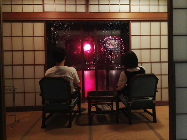 301室4人~、熱海駅徒歩5分、天然温泉無料、目の前に熱海城。素晴らしい眺め!