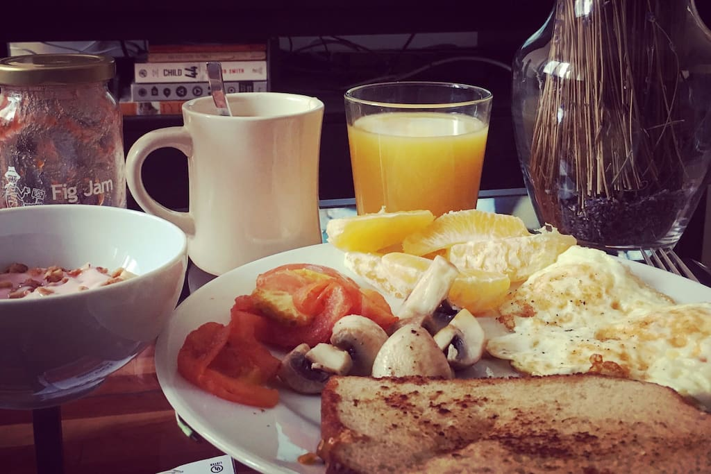 The apartment faces east so enjoy breakfast in the sun.
