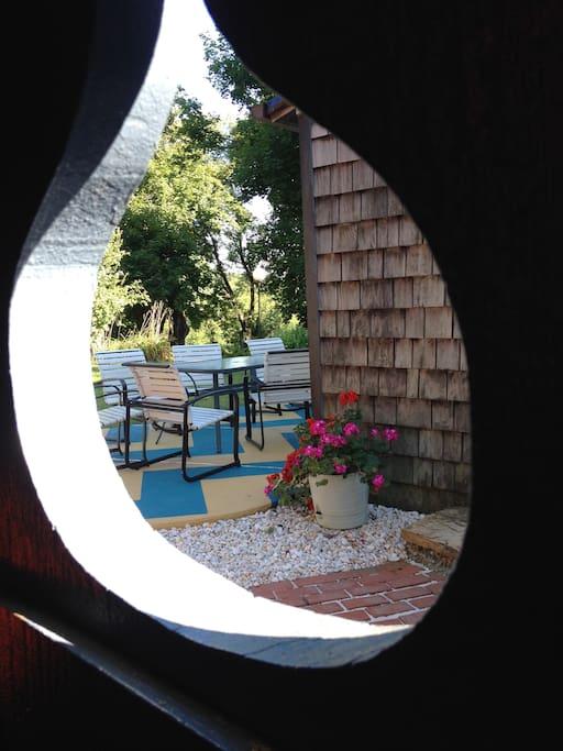 The backyard patio