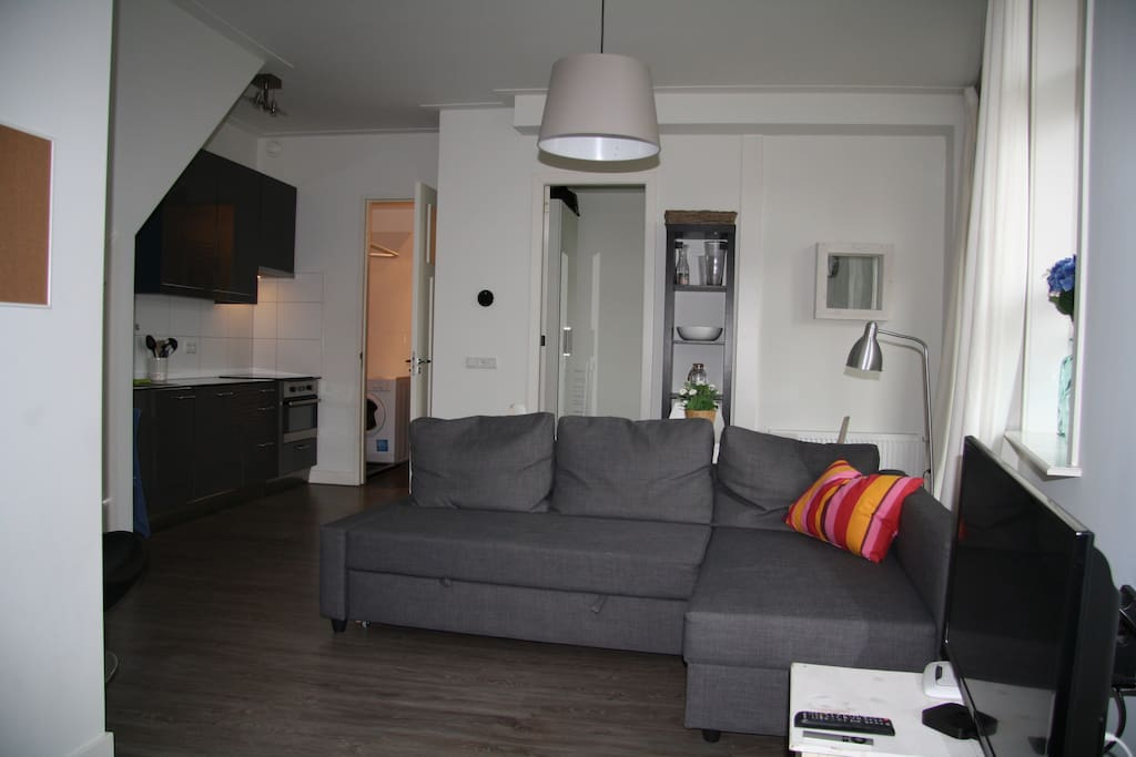 Living room with led tv and sofa couch suited for 2 persons