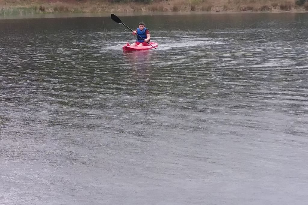 Fish or kayak or both on the on-site pond