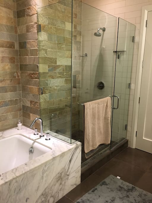 Master bathroom. Large glass shower with deep bathtub.