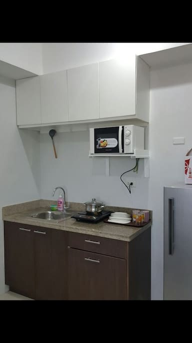 The Kitchen sink, The Fridge, Microwave Oven, Cooker, Plates, Glasses & The Hanging Cabinet